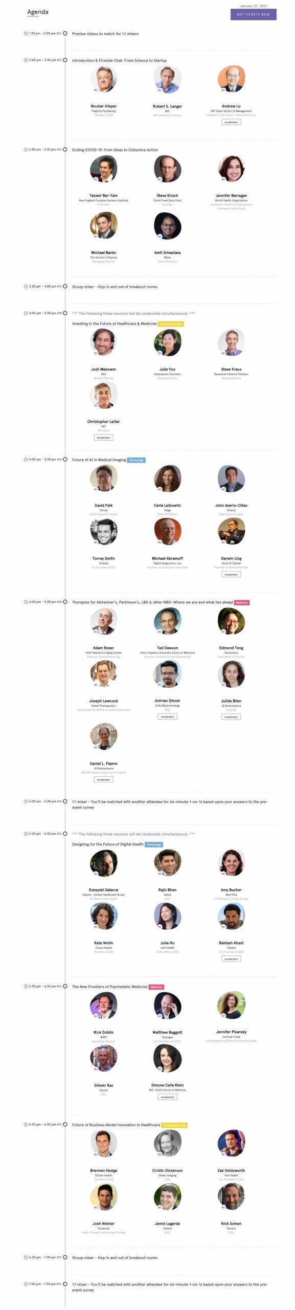 MIT/CNC Future of Healthcare Conference 2021 - Agenda